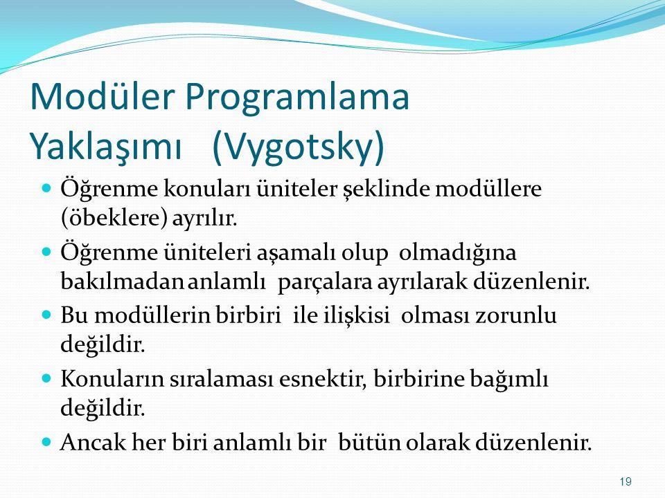 Modüler Programlama Yaklaşımı (Vygotsky) Öğrenme konuları üniteler şeklinde modüllere (öbeklere) ayrılır. Öğrenme üniteleri aşamalı olup olmadığına ba