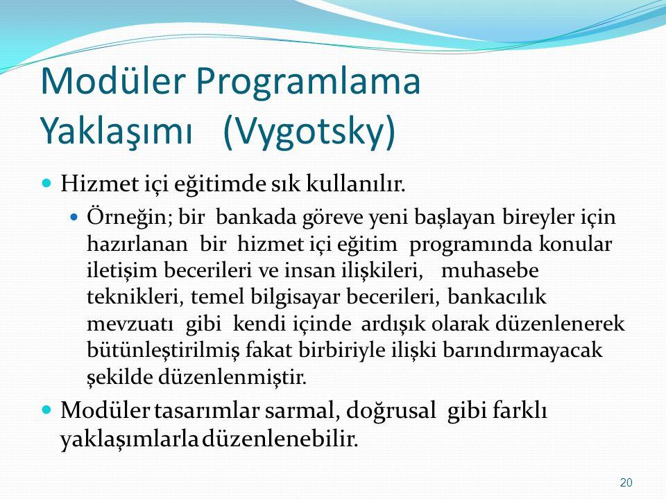 Modüler Programlama Yaklaşımı (Vygotsky) Hizmet içi eğitimde sık kullanılır. Örneğin; bir bankada göreve yeni başlayan bireyler için hazırlanan bir hi
