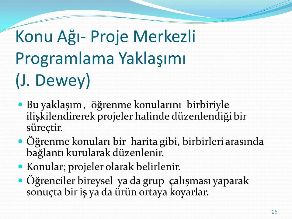 Konu Ağı- Proje Merkezli Programlama Yaklaşımı (J. Dewey) Bu yaklaşım, öğrenme konularını birbiriyle ilişkilendirerek projeler halinde düzenlendiği bi