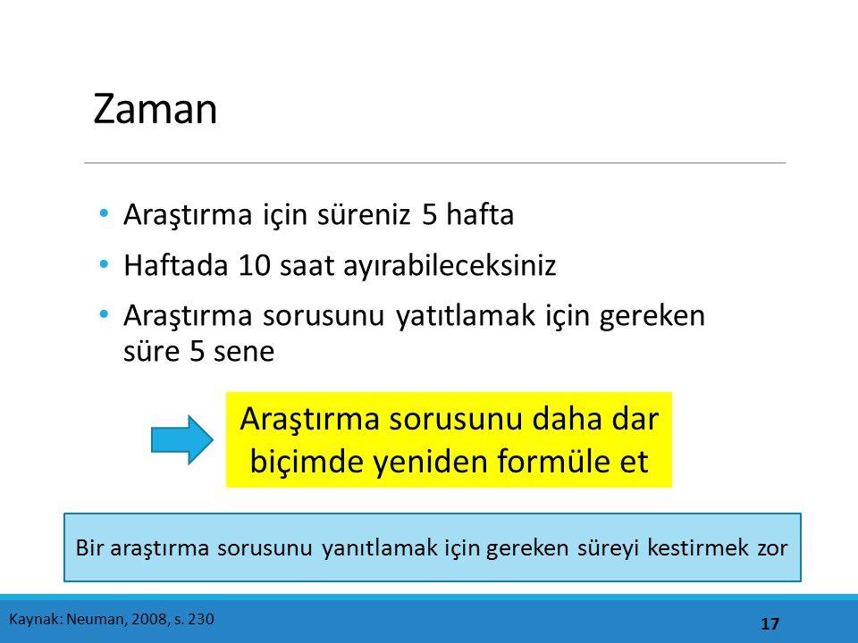 Zaman Araştırma için süreniz 5 hafta Haftada 10 saat ayırabileceksiniz Araştırma sorusunu yatıtlamak için gereken süre 5 sene 17 Kaynak: Neuman, 2008, s.