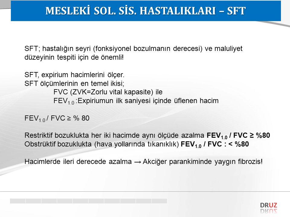 SFT; hastalığın seyri (fonksiyonel bozulmanın derecesi) ve maluliyet düzeyinin tespiti için de önemli! SFT, expirium hacimlerini ölçer. SFT ölçümlerin
