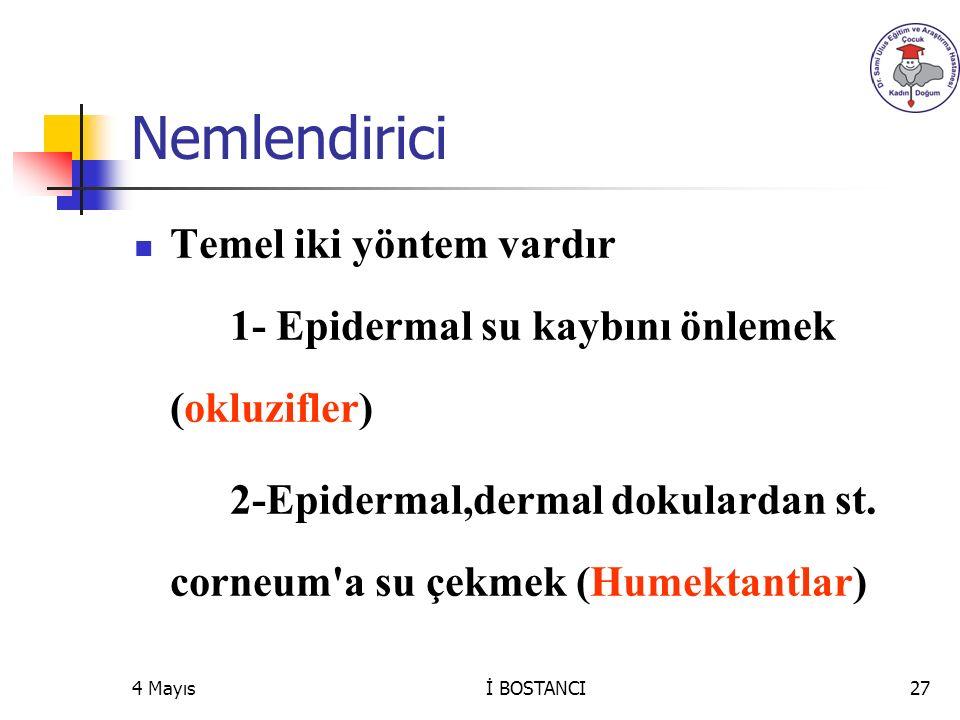Nemlendirici Temel iki yöntem vardır 1- Epidermal su kaybını önlemek (okluzifler) 2-Epidermal,dermal dokulardan st. corneum'a su çekmek (Humektantlar)