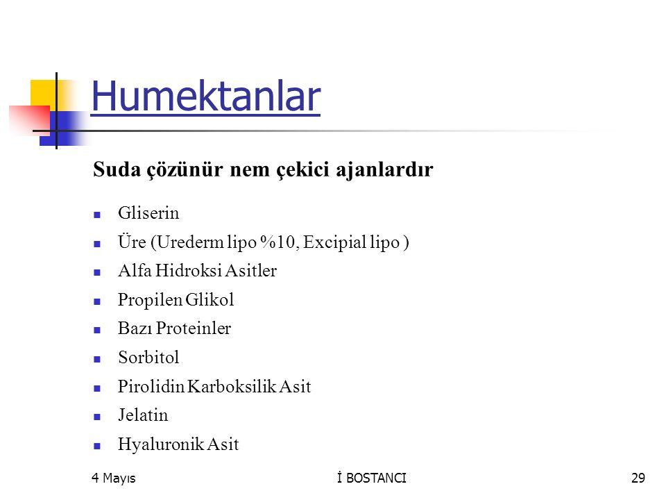 Humektanlar Suda çözünür nem çekici ajanlardır Gliserin Üre (Urederm lipo %10, Excipial lipo ) Alfa Hidroksi Asitler Propilen Glikol Bazı Proteinler S