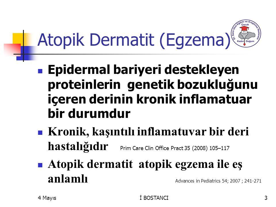 4 Mayıs Atopik Dermatit (Egzema) Epidermal bariyeri destekleyen proteinlerin genetik bozukluğunu içeren derinin kronik inflamatuar bir durumdur Kronik