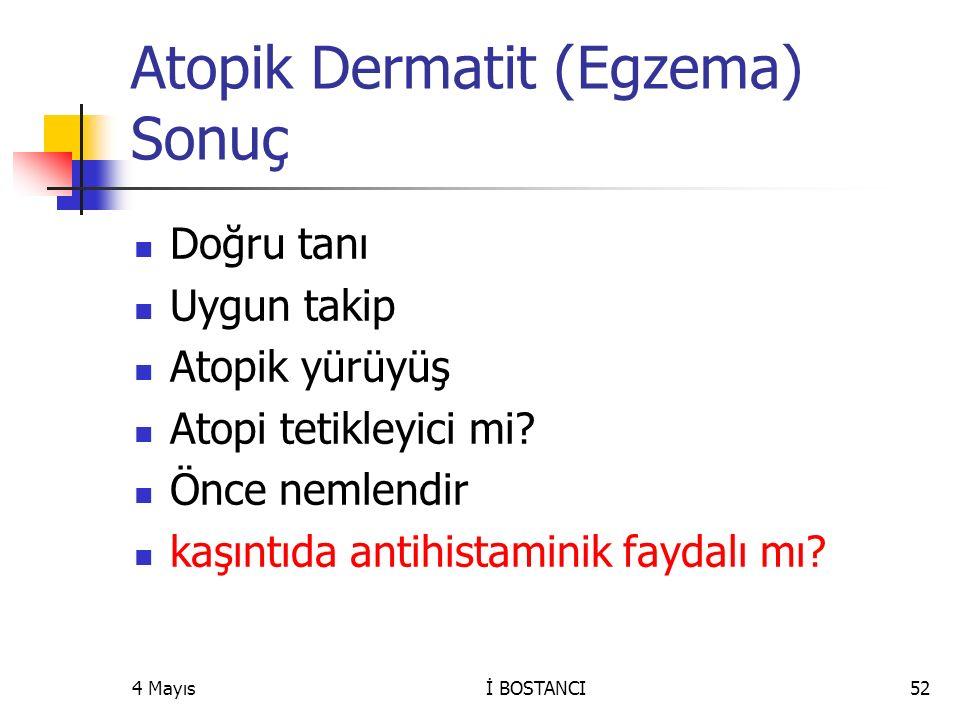 Atopik Dermatit (Egzema) Sonuç Doğru tanı Uygun takip Atopik yürüyüş Atopi tetikleyici mi? Önce nemlendir kaşıntıda antihistaminik faydalı mı? 4 Mayıs