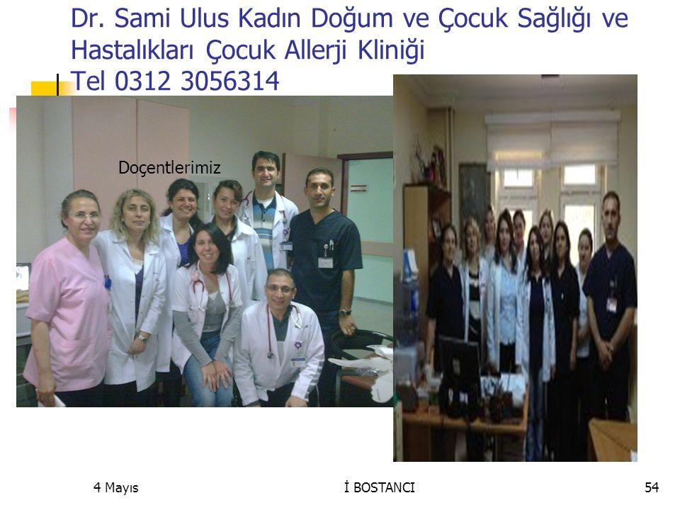 Dr. Sami Ulus Kadın Doğum ve Çocuk Sağlığı ve Hastalıkları Çocuk Allerji Kliniği Tel 0312 3056314 4 Mayıs54İ BOSTANCI Doçentlerimiz