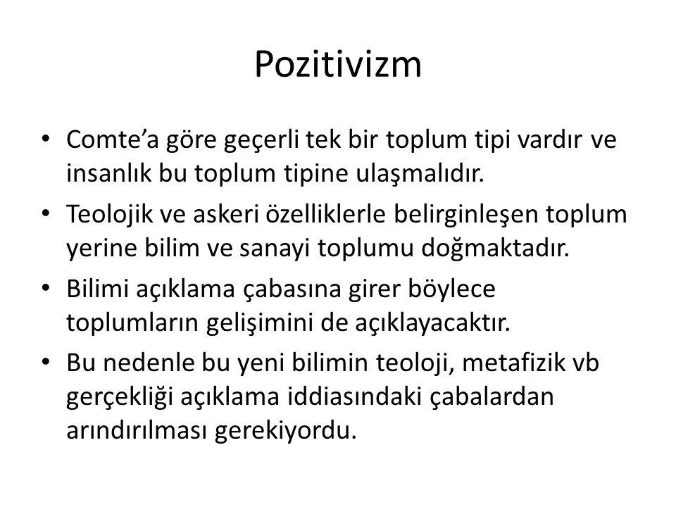 Pozitivizm Comte'a göre geçerli tek bir toplum tipi vardır ve insanlık bu toplum tipine ulaşmalıdır. Teolojik ve askeri özelliklerle belirginleşen top