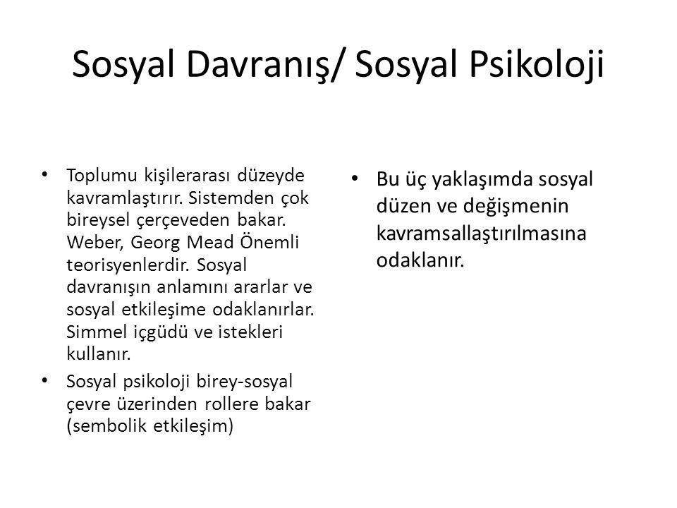 Sosyal Davranış/ Sosyal Psikoloji Toplumu kişilerarası düzeyde kavramlaştırır.