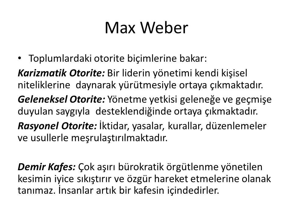 Max Weber Toplumlardaki otorite biçimlerine bakar: Karizmatik Otorite: Bir liderin yönetimi kendi kişisel niteliklerine daynarak yürütmesiyle ortaya çıkmaktadır.