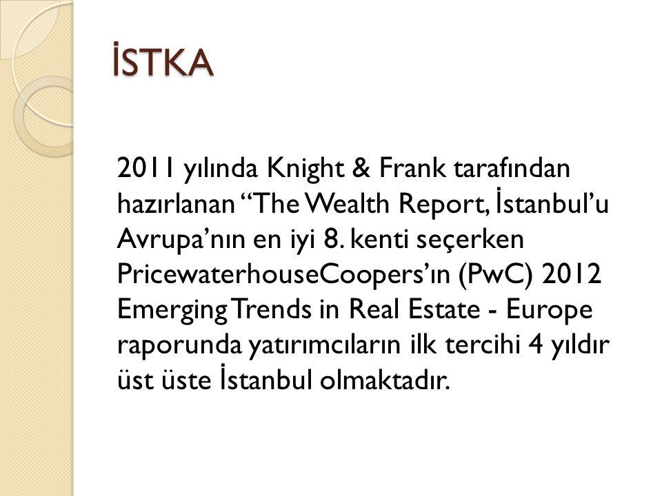 İ STKA 2011 yılında Knight & Frank tarafından hazırlanan The Wealth Report, İ stanbul'u Avrupa'nın en iyi 8.