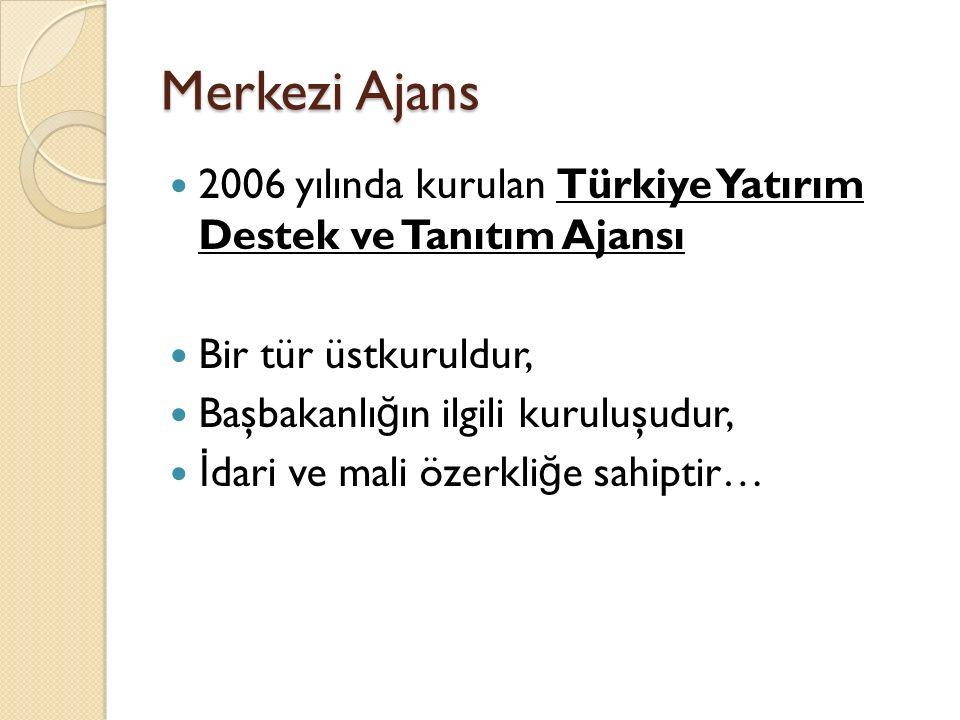 Merkezi Ajans 2006 yılında kurulan Türkiye Yatırım Destek ve Tanıtım Ajansı Bir tür üstkuruldur, Başbakanlı ğ ın ilgili kuruluşudur, İ dari ve mali özerkli ğ e sahiptir…