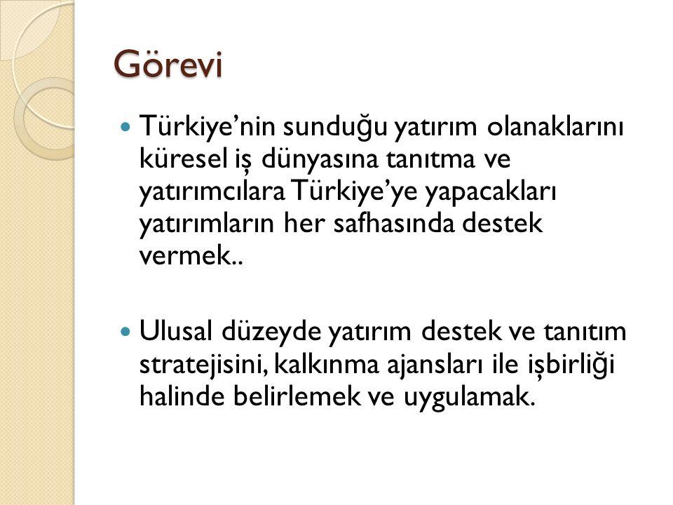 Görevi Türkiye'nin sundu ğ u yatırım olanaklarını küresel iş dünyasına tanıtma ve yatırımcılara Türkiye'ye yapacakları yatırımların her safhasında destek vermek..