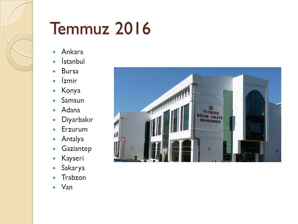 Temmuz 2016 Ankara İ stanbul Bursa İ zmir Konya Samsun Adana Diyarbakır Erzurum Antalya Gaziantep Kayseri Sakarya Trabzon Van