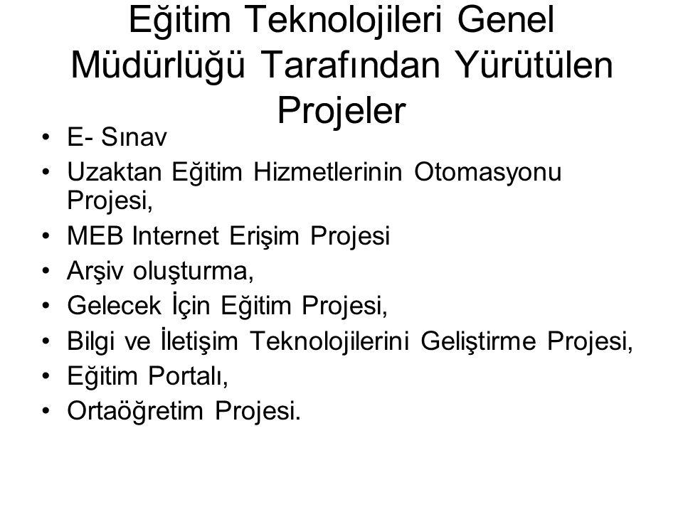 Eğitim Teknolojileri Genel Müdürlüğü Tarafından Yürütülen Projeler E- Sınav Uzaktan Eğitim Hizmetlerinin Otomasyonu Projesi, MEB Internet Erişim Projesi Arşiv oluşturma, Gelecek İçin Eğitim Projesi, Bilgi ve İletişim Teknolojilerini Geliştirme Projesi, Eğitim Portalı, Ortaöğretim Projesi.