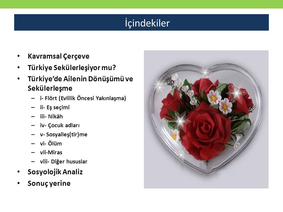 Kavramsal Çerçeve Türkiye Sekülerleşiyor mu? Türkiye'de Ailenin Dönüşümü ve Sekülerleşme – i- Flört (Evlilik Öncesi Yakınlaşma) – ii- Eş seçimi – iii-