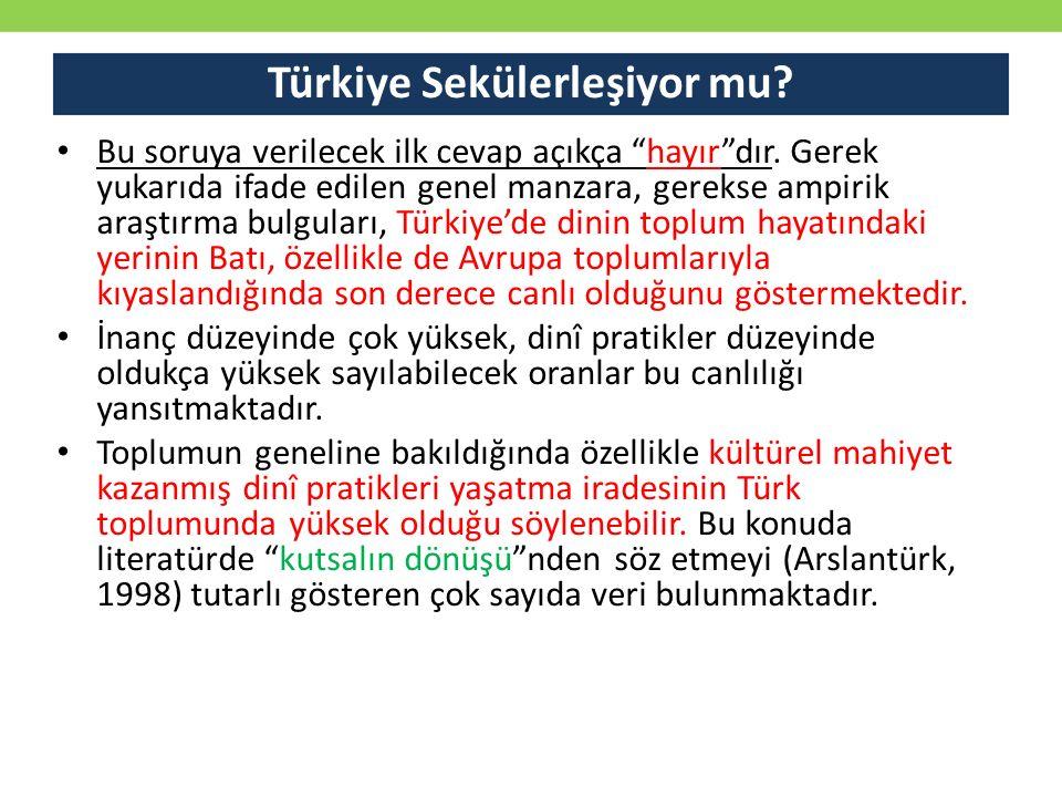 """Türkiye Sekülerleşiyor mu? Bu soruya verilecek ilk cevap açıkça """"hayır""""dır. Gerek yukarıda ifade edilen genel manzara, gerekse ampirik araştırma bulgu"""