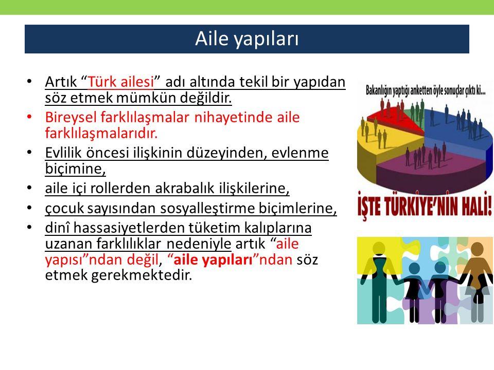 """Aile yapıları Artık """"Türk ailesi"""" adı altında tekil bir yapıdan söz etmek mümkün değildir. Bireysel farklılaşmalar nihayetinde aile farklılaşmalarıdır"""