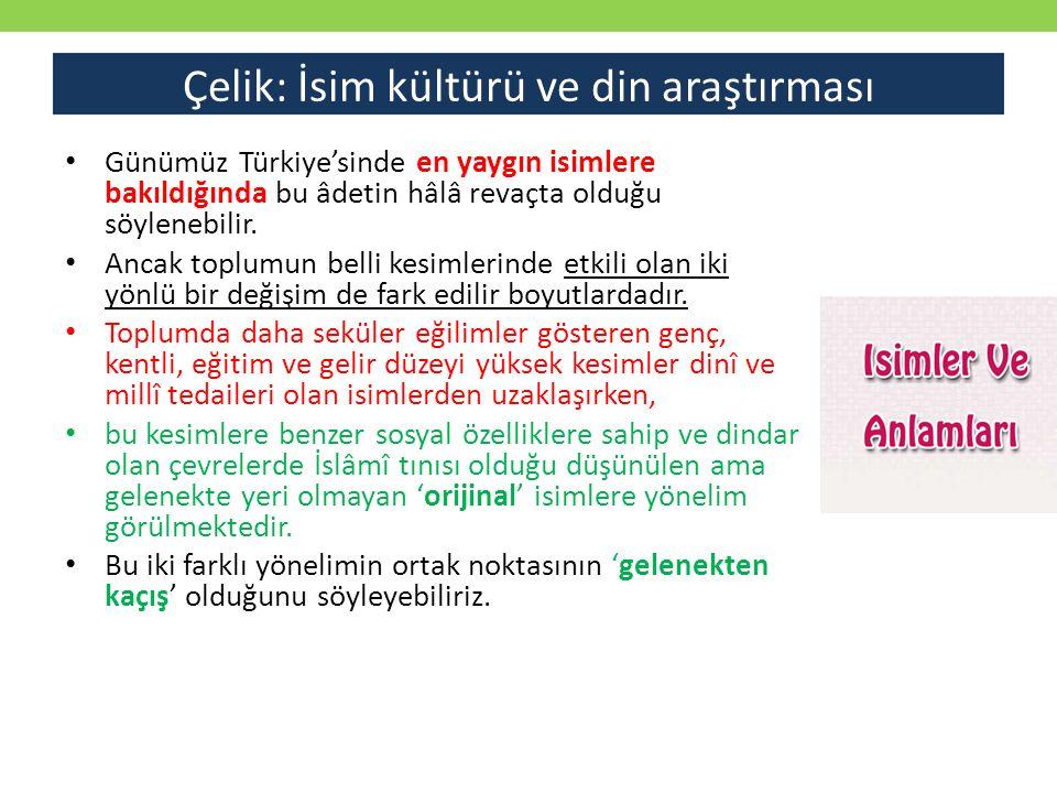 Çelik: İsim kültürü ve din araştırması Günümüz Türkiye'sinde en yaygın isimlere bakıldığında bu âdetin hâlâ revaçta olduğu söylenebilir. Ancak toplumu
