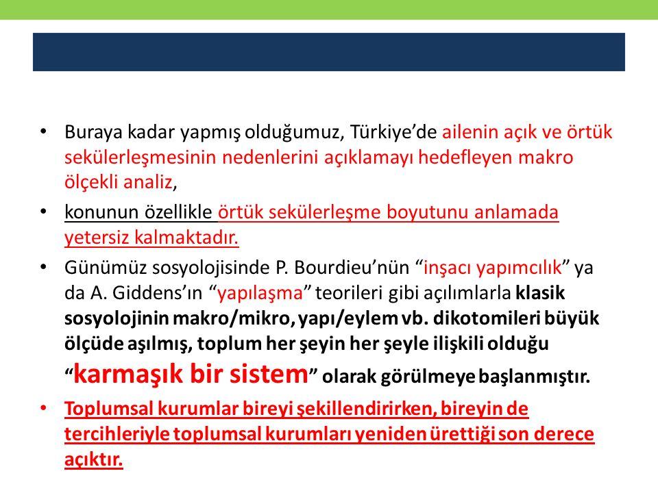Buraya kadar yapmış olduğumuz, Türkiye'de ailenin açık ve örtük sekülerleşmesinin nedenlerini açıklamayı hedefleyen makro ölçekli analiz, konunun özel