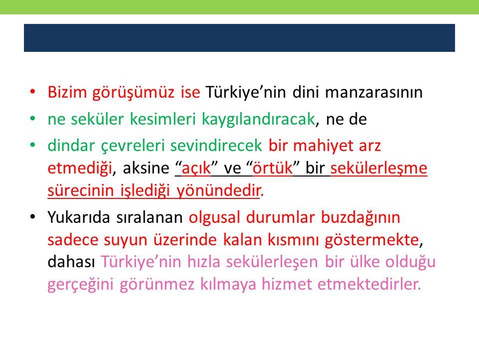 Bizim görüşümüz ise Türkiye'nin dini manzarasının ne seküler kesimleri kaygılandıracak, ne de dindar çevreleri sevindirecek bir mahiyet arz etmediği,