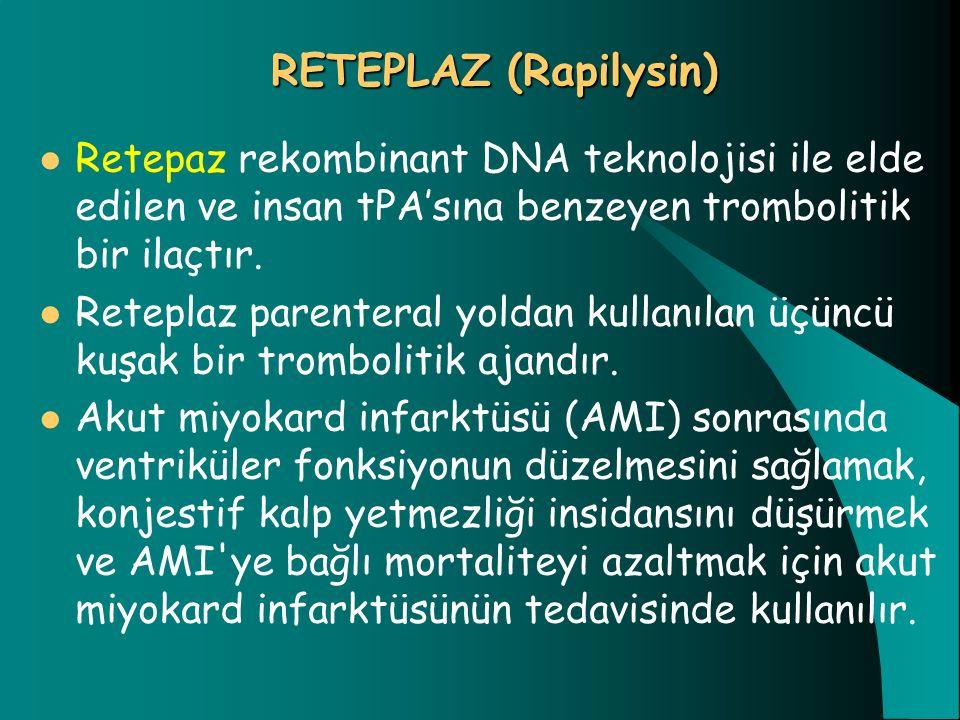 RETEPLAZ (Rapilysin) Retepaz rekombinant DNA teknolojisi ile elde edilen ve insan tPA'sına benzeyen trombolitik bir ilaçtır. Reteplaz parenteral yolda