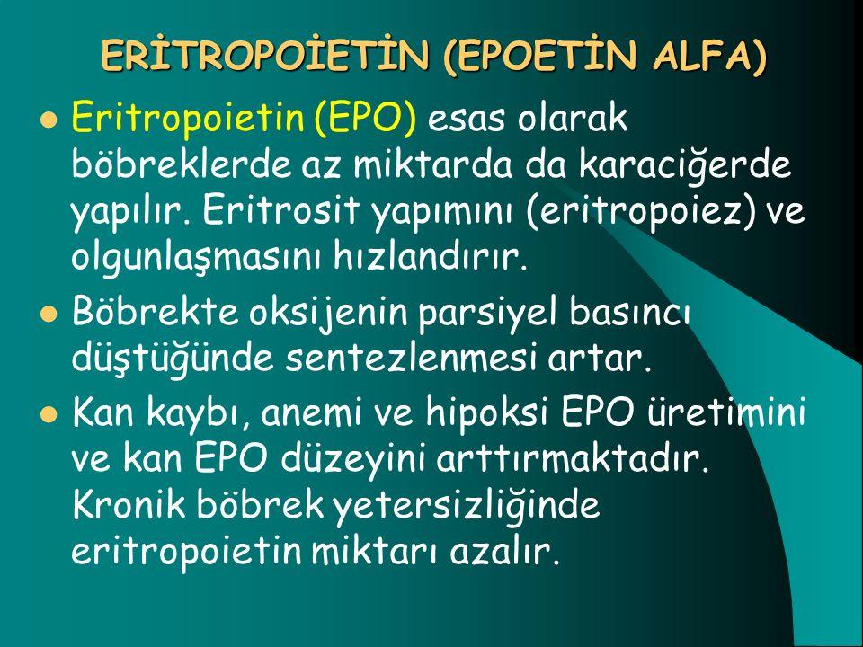 ERİTROPOİETİN (EPOETİN ALFA) Eritropoietin (EPO) esas olarak böbreklerde az miktarda da karaciğerde yapılır. Eritrosit yapımını (eritropoiez) ve olgun