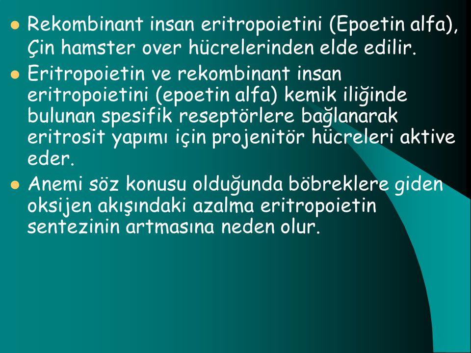 Rekombinant insan eritropoietini (Epoetin alfa), Çin hamster over hücrelerinden elde edilir. Eritropoietin ve rekombinant insan eritropoietini (epoeti