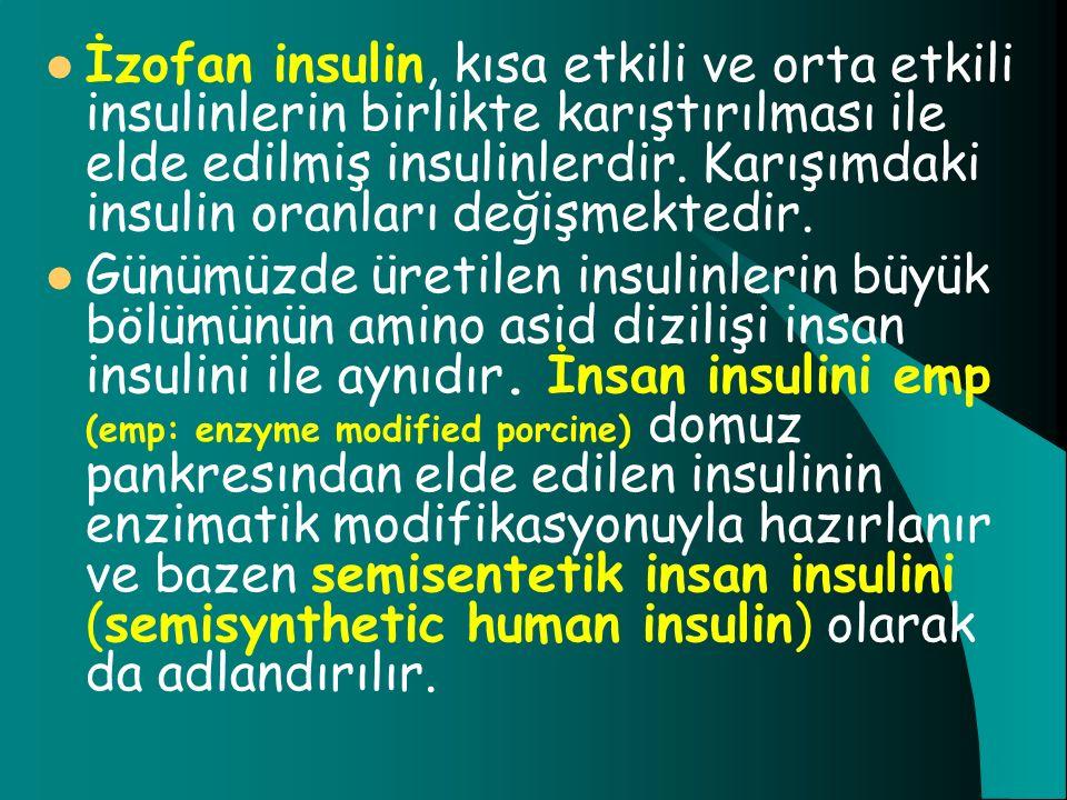 İzofan insulin, kısa etkili ve orta etkili insulinlerin birlikte karıştırılması ile elde edilmiş insulinlerdir. Karışımdaki insulin oranları değişmekt