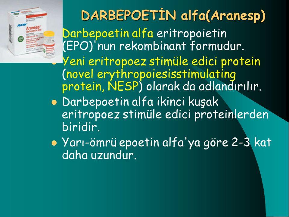 DARBEPOETİN alfa(Aranesp) DARBEPOETİN alfa(Aranesp) Darbepoetin alfa eritropoietin (EPO)'nun rekombinant formudur. Yeni eritropoez stimüle edici prote