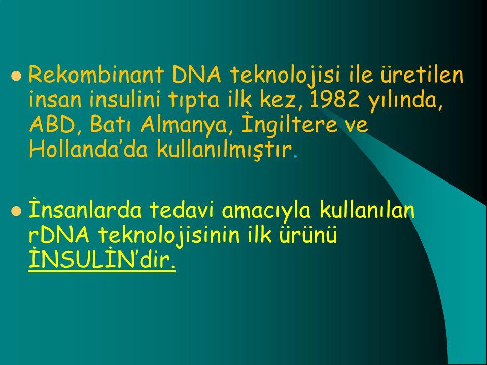 Rekombinant DNA teknolojisi ile üretilen insan insulini tıpta ilk kez, 1982 yılında, ABD, Batı Almanya, İngiltere ve Hollanda'da kullanılmıştır. İnsan