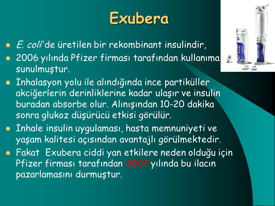 Exubera E. coli''de üretilen bir rekombinant insulindir, 2006 yılında Pfizer firması tarafından kullanıma sunulmuştur. İnhalasyon yolu ile alındığında