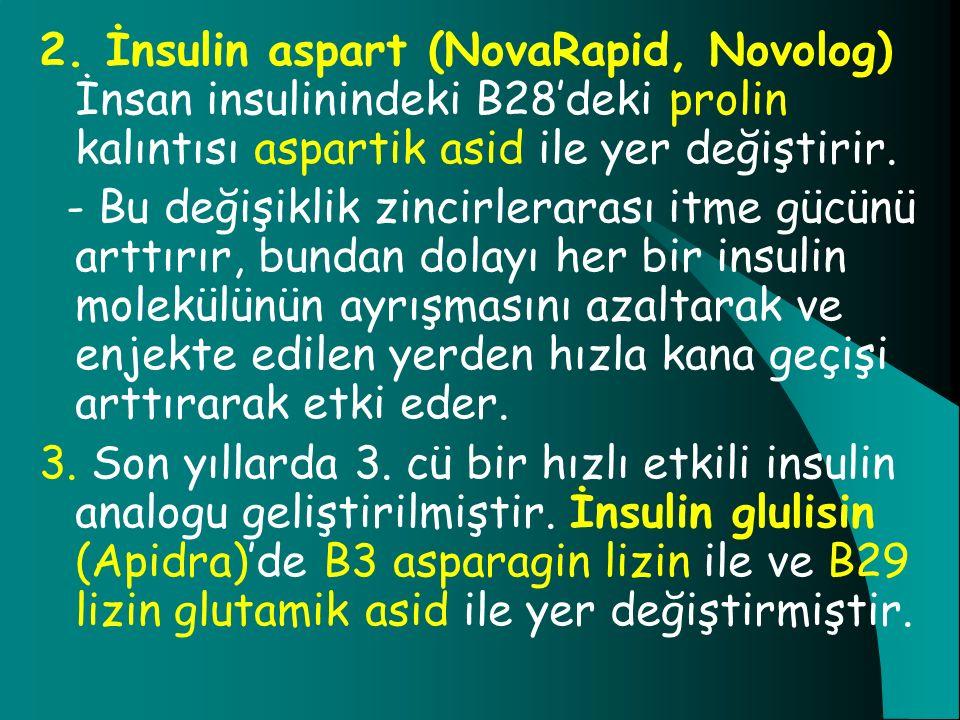 2. İnsulin aspart (NovaRapid, Novolog) İnsan insulinindeki B28'deki prolin kalıntısı aspartik asid ile yer değiştirir. - Bu değişiklik zincirlerarası