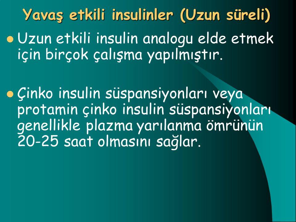 Yavaş etkili insulinler (Uzun süreli) Uzun etkili insulin analogu elde etmek için birçok çalışma yapılmıştır. Çinko insulin süspansiyonları veya prota