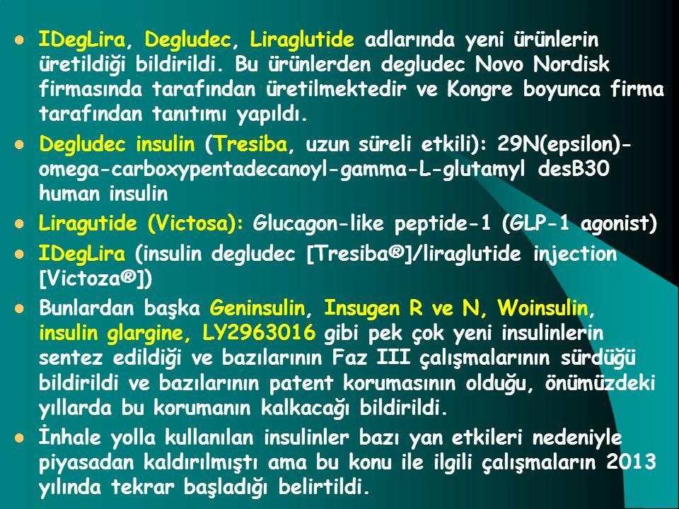IDegLira, Degludec, Liraglutide adlarında yeni ürünlerin üretildiği bildirildi. Bu ürünlerden degludec Novo Nordisk firmasında tarafından üretilmekted