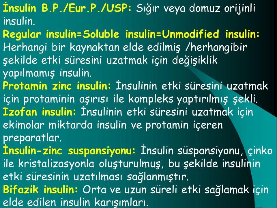 İnsulin B.P./Eur.P./USP: Sığır veya domuz orijinli insulin. Regular insulin=Soluble insulin=Unmodified insulin: Herhangi bir kaynaktan elde edilmiş /h