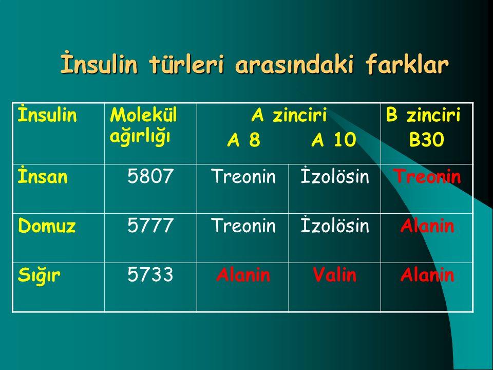 İnsulin türleri arasındaki farklar İnsulinMolekül ağırlığı A zinciri A 8 A 10 B zinciri B30 İnsan5807TreoninİzolösinTreonin Domuz5777TreoninİzolösinAl