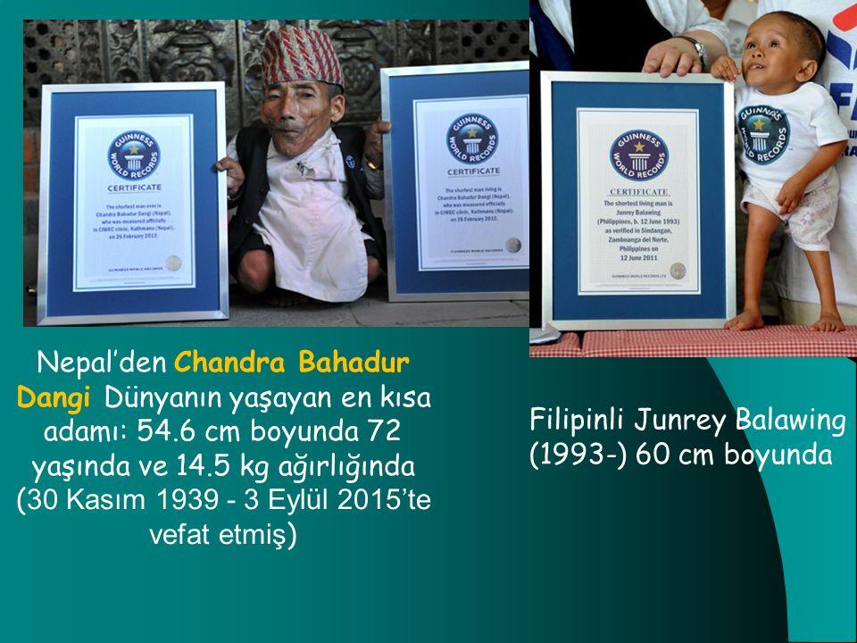 Nepal'den Chandra Bahadur Dangi Dünyanın yaşayan en kısa adamı: 54.6 cm boyunda 72 yaşında ve 14.5 kg ağırlığında ( 30 Kasım 1939 - 3 Eylül 2015'te ve