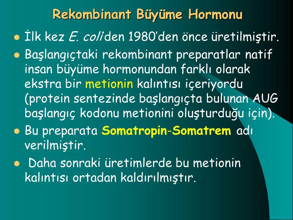 Rekombinant Büyüme Hormonu İlk kez E. coli'den 1980'den önce üretilmiştir. Başlangıçtaki rekombinant preparatlar natif insan büyüme hormonundan farklı