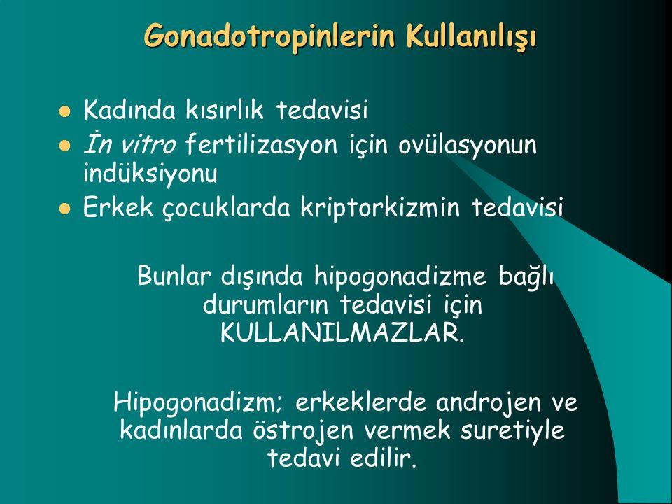 Gonadotropinlerin Kullanılışı Kadında kısırlık tedavisi İn vitro fertilizasyon için ovülasyonun indüksiyonu Erkek çocuklarda kriptorkizmin tedavisi Bu