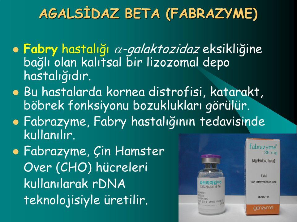 AGALSİDAZ BETA (FABRAZYME) Fabry hastalığı  -galaktozidaz eksikliğine bağlı olan kalıtsal bir lizozomal depo hastalığıdır. Bu hastalarda kornea distr