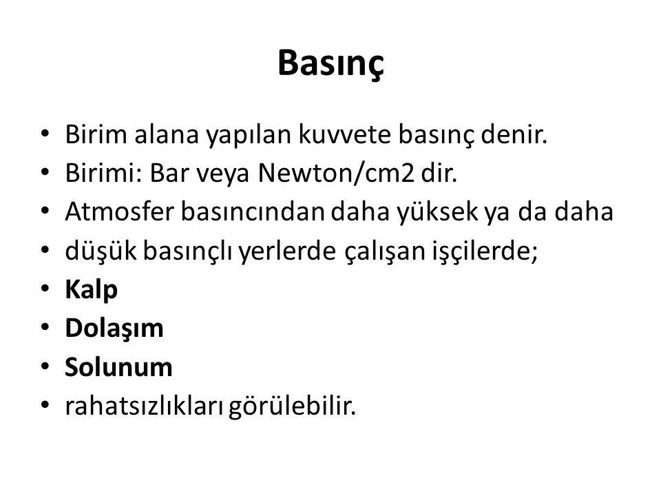 Basınç Birim alana yapılan kuvvete basınç denir. Birimi: Bar veya Newton/cm2 dir.