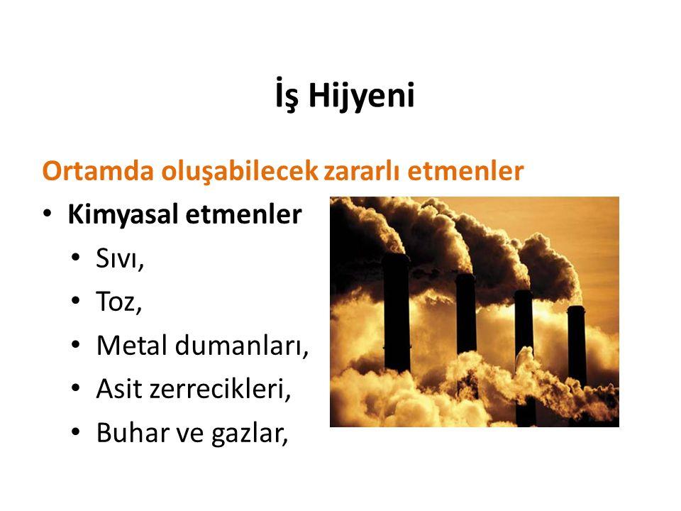 İş Hijyeni Ortamda oluşabilecek zararlı etmenler Kimyasal etmenler Sıvı, Toz, Metal dumanları, Asit zerrecikleri, Buhar ve gazlar,