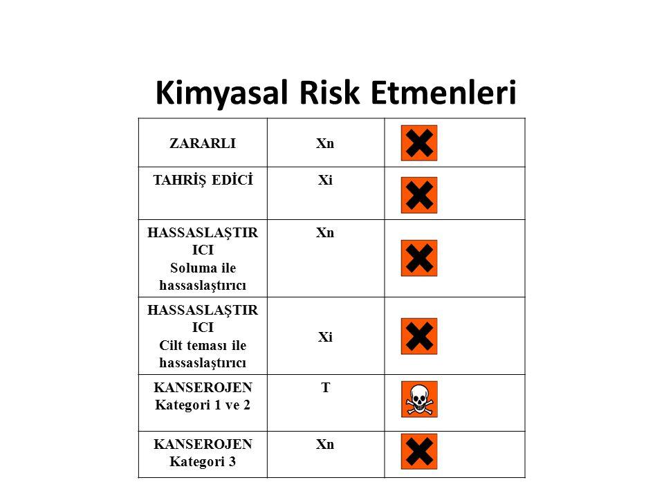ZARARLIXn TAHRİŞ EDİCİXi HASSASLAŞTIR ICI Soluma ile hassaslaştırıcı Xn HASSASLAŞTIR ICI Cilt teması ile hassaslaştırıcı Xi KANSEROJEN Kategori 1 ve 2 T KANSEROJEN Kategori 3 Xn Kimyasal Risk Etmenleri