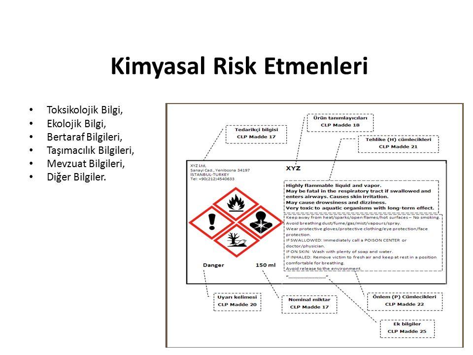 Kimyasal Risk Etmenleri Toksikolojik Bilgi, Ekolojik Bilgi, Bertaraf Bilgileri, Taşımacılık Bilgileri, Mevzuat Bilgileri, Diğer Bilgiler.