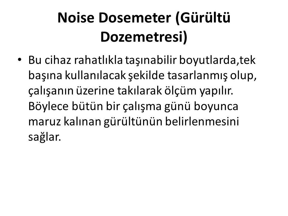 Noise Dosemeter (Gürültü Dozemetresi) Bu cihaz rahatlıkla taşınabilir boyutlarda,tek başına kullanılacak şekilde tasarlanmış olup, çalışanın üzerine takılarak ölçüm yapılır.