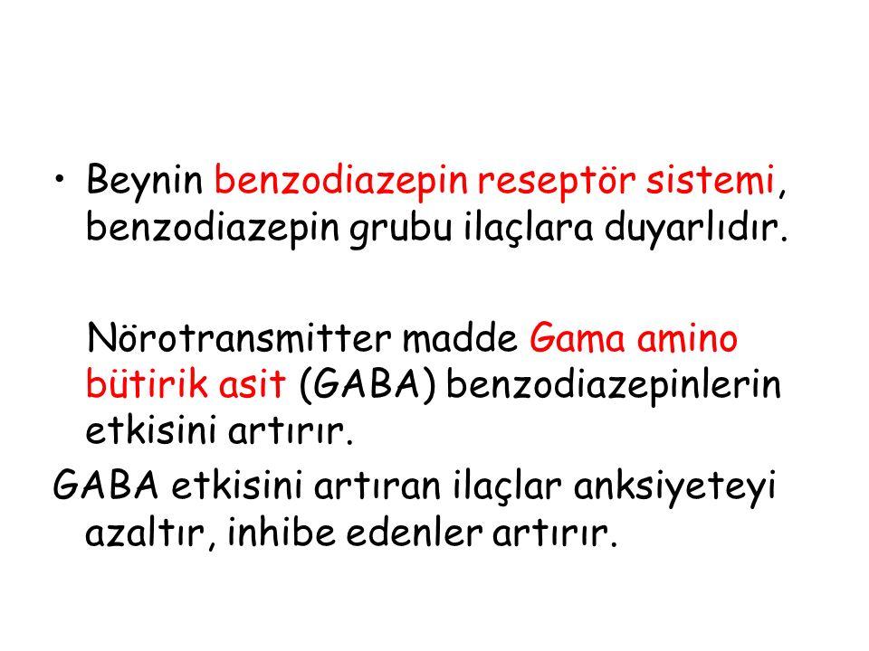 Beynin benzodiazepin reseptör sistemi, benzodiazepin grubu ilaçlara duyarlıdır. Nörotransmitter madde Gama amino bütirik asit (GABA) benzodiazepinleri