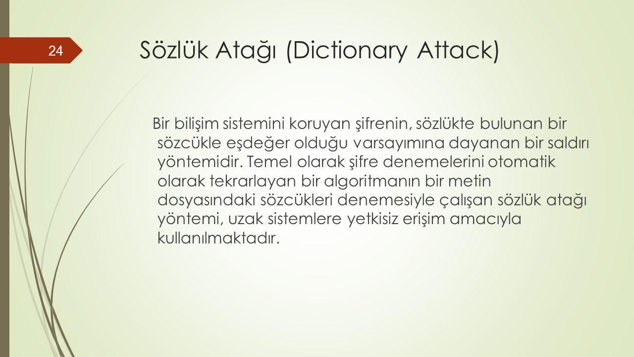 Sözlük Atağı (Dictionary Attack) Bir bilişim sistemini koruyan şifrenin, sözlükte bulunan bir sözcükle eşdeğer olduğu varsayımına dayanan bir saldırı yöntemidir.