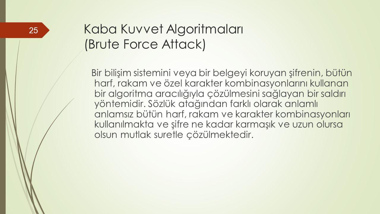 Kaba Kuvvet Algoritmaları (Brute Force Attack) Bir bilişim sistemini veya bir belgeyi koruyan şifrenin, bütün harf, rakam ve özel karakter kombinasyonlarını kullanan bir algoritma aracılığıyla çözülmesini sağlayan bir saldırı yöntemidir.