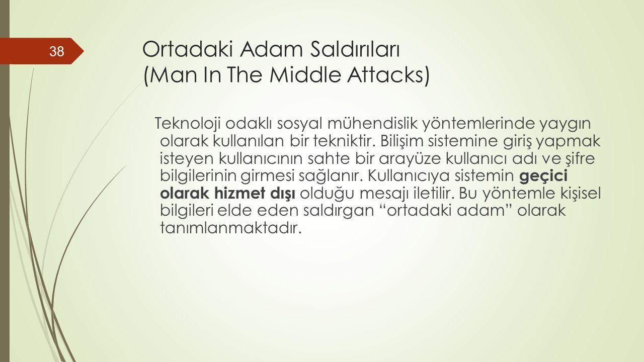 Ortadaki Adam Saldırıları (Man In The Middle Attacks) Teknoloji odaklı sosyal mühendislik yöntemlerinde yaygın olarak kullanılan bir tekniktir.