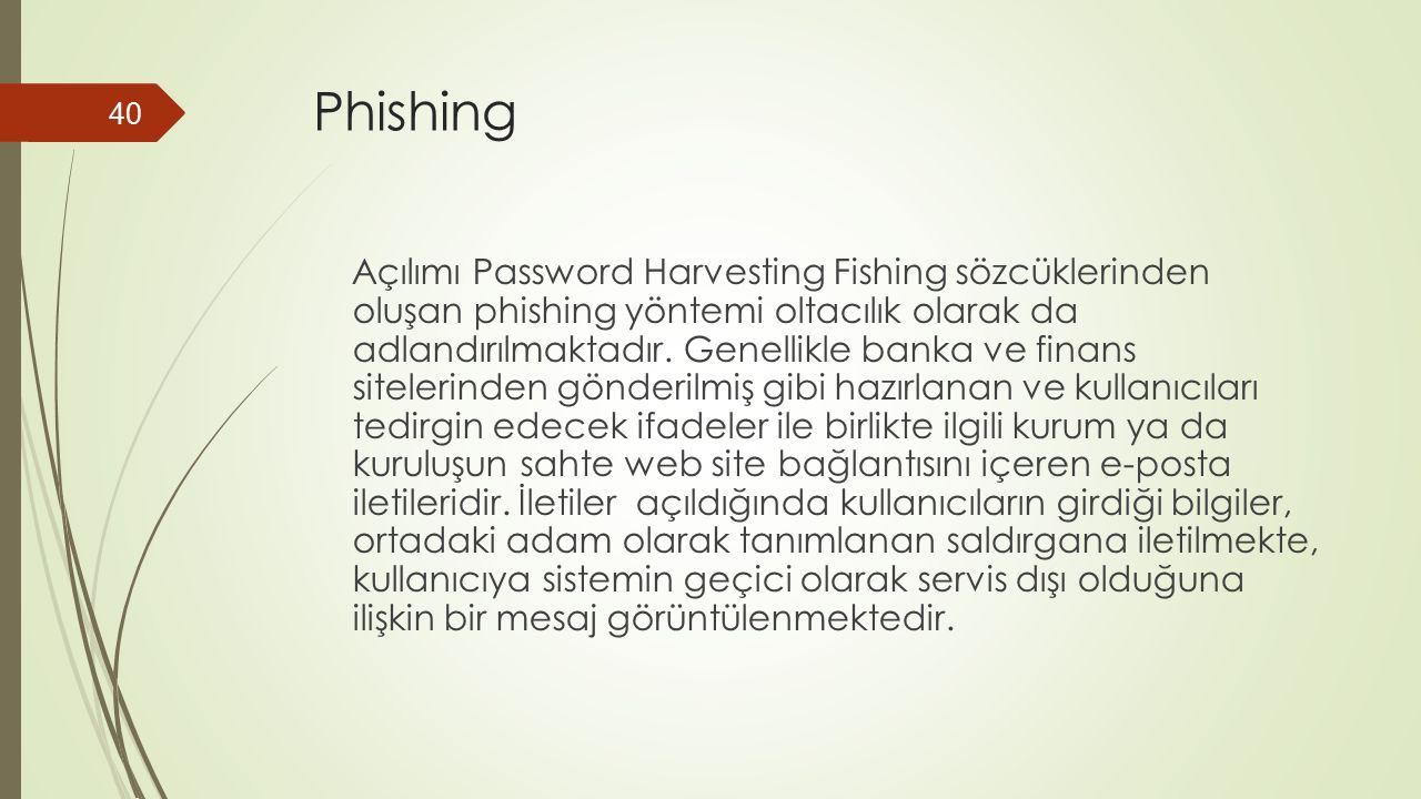 Phishing Açılımı Password Harvesting Fishing sözcüklerinden oluşan phishing yöntemi oltacılık olarak da adlandırılmaktadır.